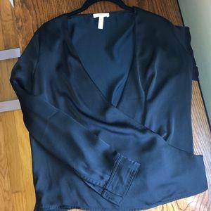 Black sheen wrap blouse